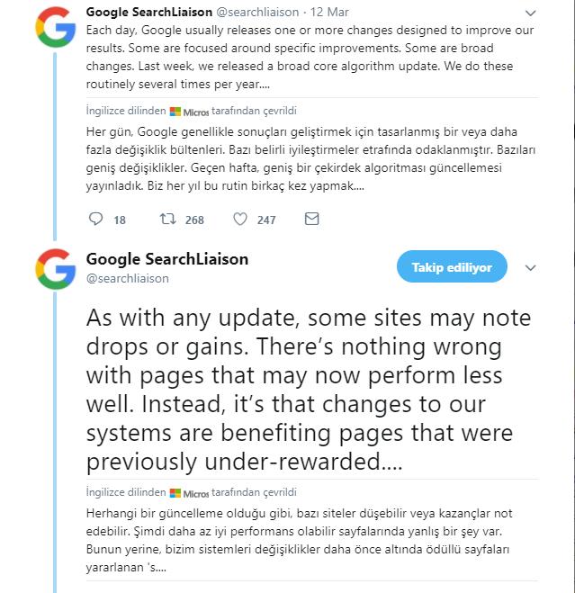 algortima güncellemesi